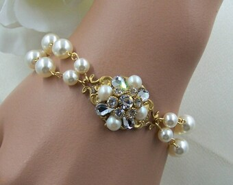 Crystal Bracelet, Bridal Cuff, Wedding Rhinestone Bracelet, Wedding Rhinestone Bracelet, Statement Bracelet, Vintage Inspired Jewelry
