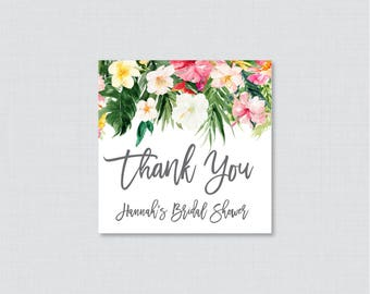 Tropical Bridal Shower Favor Tags Printable - Hawaiian Flower Bridal Shower Favor Tags, Thank You Tags - Luau Bridal Shower Favor Tags 0032