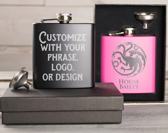 Custom Flask, Personalized Flask, Flask For Men, Engraved Flask, Hip Flask, Gift For Boyfriend, Drink Flask, Etched Flask, Best Man Gift