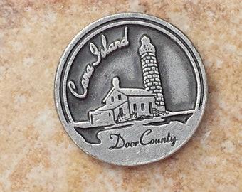 Cana Island, Door County Souvenir Token Coin, Protect Us Coin, Cana Island Lighthouse Collectible Token