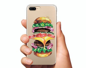Big Burger case iPhone 5s case Fast food case iPhone 6s case iPhone 7 cases iPhone food case silicone clear iphone case iphone 7 case clear