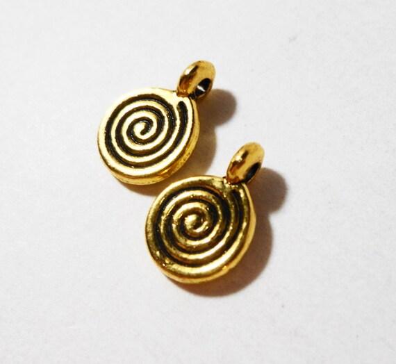 Gold Pinwheel Charms 11x7mm  Antique Gold Metal Circular Spiral Charm Small Pinwheel Pendant Swirl Charms Jewelry Making Craft Supplies 10pc