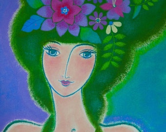 "Portrait painting - Acrylic on Canvas - ""Modern Muse"" on Green"