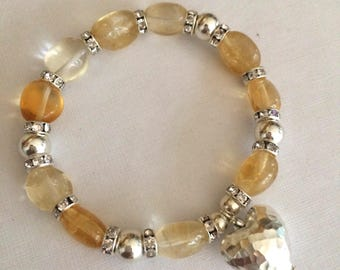 Sterling Silver Citrine bracelet hammered Heart November birthstone jewellery yellow gemstone stretch bracelet Healing Chakra jewelry gift