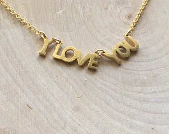 Gold I Love You Necklace | Valentines Day Necklace | Wedding Gift | Anniversary Gift | Love Necklace | Love Jewelry