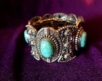 Turquoise Gemstone Bracelet - gothic jewellery boho jewellery