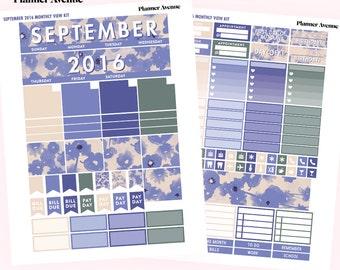 September Monthly Kit Printable, September Planner Stickers, Erin Condren Planner Stickers, Autumn Planner Stickers, Monthly Stickers