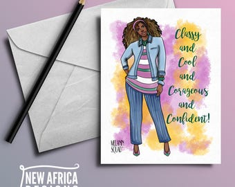 "Melanin Squad Greeting Card ""Jalisa"", A7, Black Greeting cards"