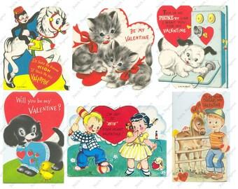 Vintage Valentines Day Cards Digital Download Collage Sheet B