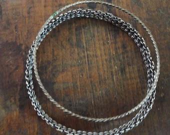 Two Classic STERLING Silver BANGLE Bracelets Basket Weave & Twist