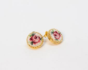 Tiny Roses Earrings - Needlepoint Mini Studs - Floral Earrings - Cottage Chic - Pink Rose On White - Petit Point Hand Embroidery Pattern