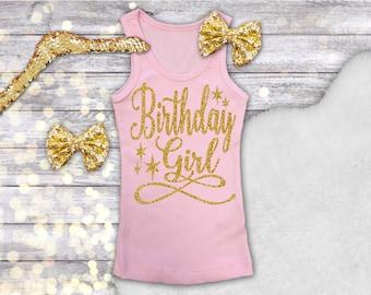 Birthday Girl Tank, Birthday Girl Shirt, Girl Pink Tank, Pink and Gold Birthday Shirt, Pink Gold Birthday, Glitter Birthday Shirt Sleeveless