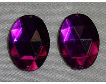 Pink oval acrylic rhinestone - 25mm x 15mm