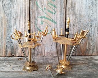 Vintage Barware, Toledo Damascene Enamel Hors d'oeuvres Swords, Vintage Garnish Metal Picks Swords