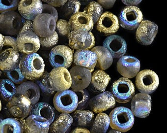 10gr 6/0 Czech Glass Seed Beads Etched, Etched Golden Rainbow (6SBE022)