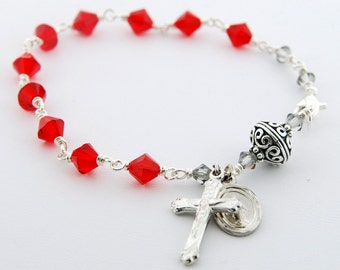 Swarovski Crystal Rosary Bracelet, Light Siam, Sterling Silver, Bali