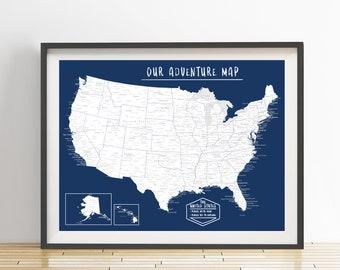 USA Push Pin Map (Print Only), United States Travel Map, Adventure Map, Travel Map, Travel Board, Map Poster, Anniversary Gift  #USA-004