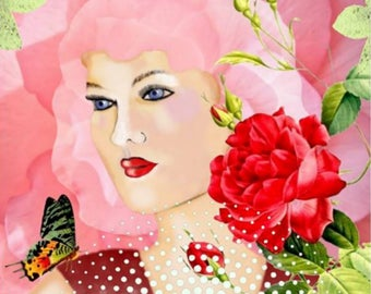 /La Lady Pink/mixed media illustration / digital print