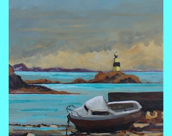 painting of a breton landscape of the Isle of Brehat figurative oil painting 33 x 41, yellow, blue