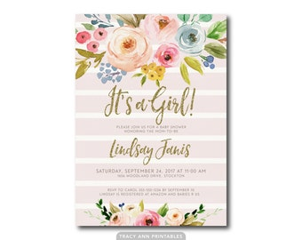 It's a Girl Baby Shower | Pink Striped Floral Glitter Invitation | Summer Flowers Glitter invite | BabyShower | Faux Gold Printable 0578
