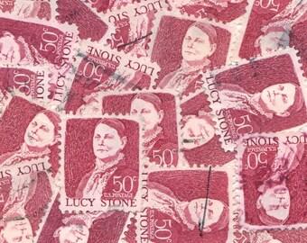 Burgundy Vintage Postage Stamps
