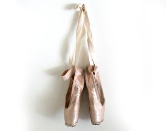 pointe ballet shoes, handmade Grishko, romantic decor, girls' room decor, cottage chic