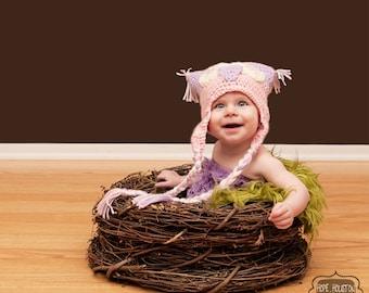 TWIN SET Olive Faux Fur, Wood Branch Nest, Owl Nest, Bird Nest, Newborn Nest, Newborn Photography, Photo Prop