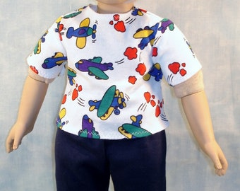 18 Inch Doll Clothes - Boys Airplanes T Shirt handmade by Jane Ellen to fit 18 inch boy dolls