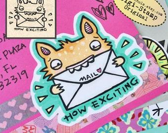 Full Color Mail Monster Digital Stamp - Digistamp Original - How Exciting! Happy Mail - Stamp - Printable Sticker - Clip Art - Printables