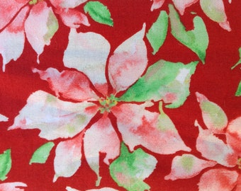 White Poinsettias Scatter Joy by Kathy Davis Studios for Fabric Traditions/Christmas Floral/Winter Blooms/HALF YARD Pricing/