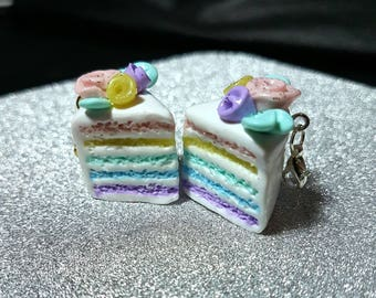 Cute polymer clay pastel rainbow cake planner-knitting charm/ cell phone charm/ necklace