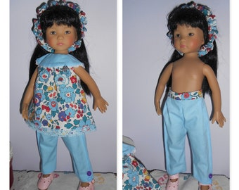 "Little darlings Dianna Effner doll clothes, 33cm 14 ""/ tunic in Liberty Of London, Betsy porcelain, pants and headband"""