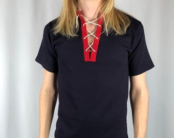 Vintage 1970's Ribbed Tie Up Tee Size Medium