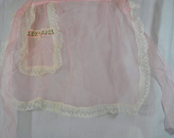 Vintage Half Apron Pink Nylon Sheer with Lace