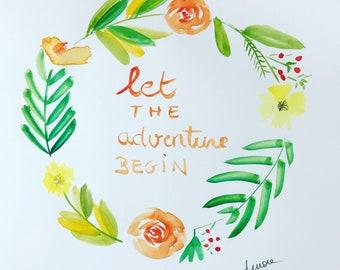 Watercolor wreath message