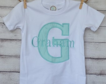 Personalized Applique Initial with Name Applique Shirt or Bodysuit Boy or Girl