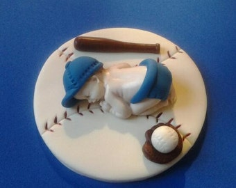 Fondant baby boy baseball cake topper, baby shower, birthday