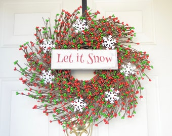 Let It Snow Wreath Red Green Berries White tin Snowflakes Winter Christmas Front Door Decor Christmas wreath Winter wreath