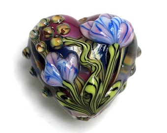 Hot Pink w/Purple Floral Heart Focal Bead - Handmade Glass Lampwork Bead 11804205