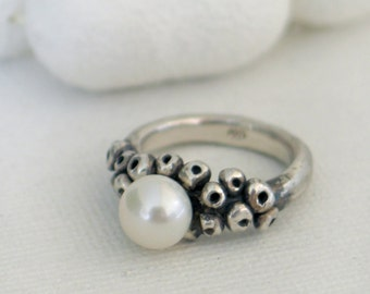 Bubble Fresh water Pearl sterling silver Ring