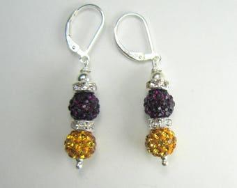 Purple and Gold Bling Earrings, UW Huskies Earrings, Sterling Silver Leverback Ear Wires, Pavé Disco Ball Earrings