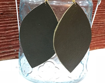 Large size, olive green leather leather petal earring