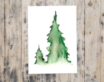 Watercolor PRINT - Evergreen Tree