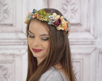 Bridal Hair Crown, Gold Floral Wreath, Vintage Style Headpiece, Autumn Bridal Crown, Flower Crown, Woodland Wedding, Rustic Circlet