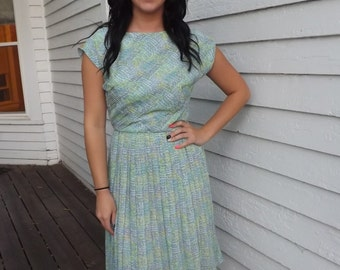Vintage 50s Dress Print Pleated Blue Green Sheer S XS