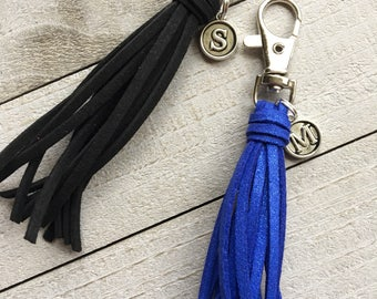 Bag Tassel Clip with Initial Charm, Personalized Gift, Bridesmaid Gift, Bridal Party Gift, BFF Gift, Best Friend Gift    (ST124)