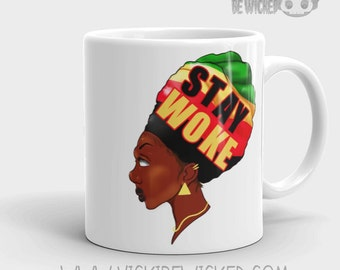 Stay Woke, Glossy White Coffee Mug