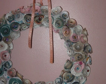Old Book Paper Roses Wreath/Spanish Dictionary & Novel/Pink and Blue and Green and White Rosette (Roses) Vintage Wreath with Peach Ribbon