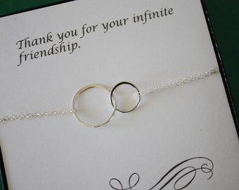 Bridesmaid Friendship Bracelet, Infinite Bracelet, Infinity Jewelry, Best friend Gift, Thank You Card, Sterling Silver  Bracelet