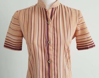 1970's Vintage Brown Striped Shirt Dress